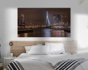 Erasmus-Brücke und die Skyline von Rotterdam bei Nacht von Arthur Scheltes