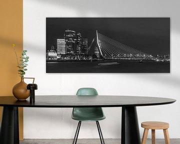 Rotterdam Skyline black & white by night van Arthur Scheltes
