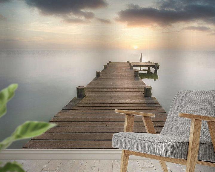 Beispiel fototapete: Bootssteg bei Sonnenuntergang von Uwe Merkel