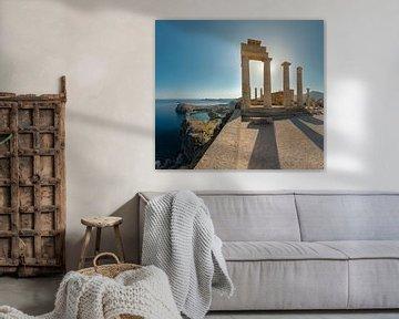 Säulen der Akropolis, Lindos, Rhodos, Griechenland von Rene van der Meer