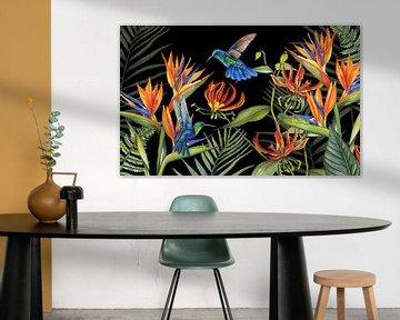 Tropische Blumen Kolibris von Geertje Burgers