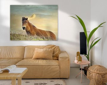 Konik Horse Sonnenuntergang von Wendy Tellier - Vastenhouw