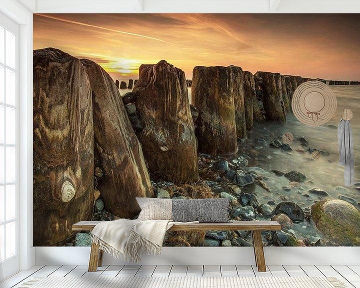 Beispiel fototapete: Buhnen im Sonnenuntergang von Frank Herrmann