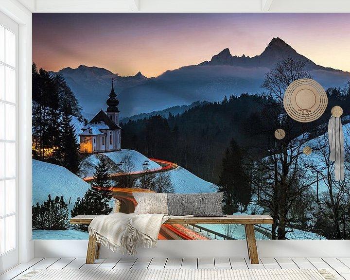 Sfeerimpressie behang: Maria Gern en Watzmann van Frank Herrmann