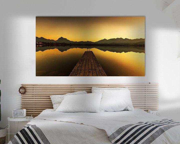 Impression: Débarcadère de bateau sur le lac au coucher du soleil sur Frank Herrmann