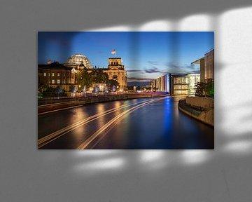 Le Reichstag de Berlin à l'heure bleue