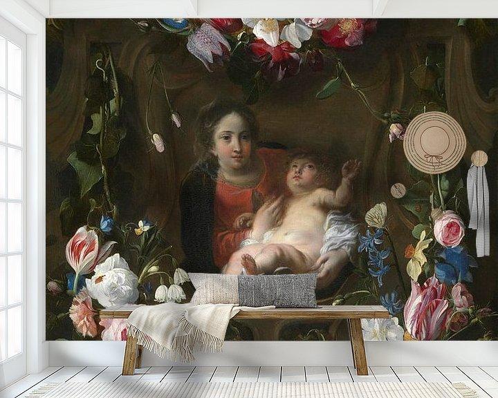 Beispiel fototapete: Blumenkartusche mit Statue von Mary Daniel Seghers, Thomas Willeboirts Bosschaert