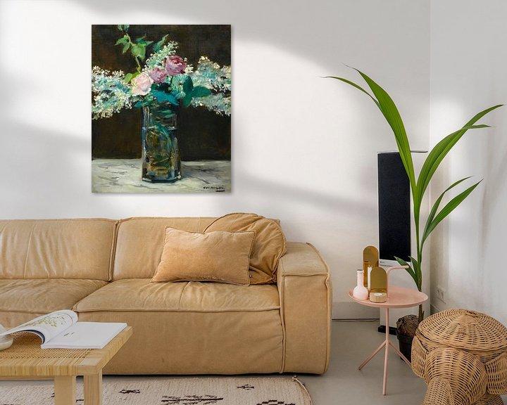 Beispiel: Vase mit weißen Flieder und Rosen, Edouard Manet