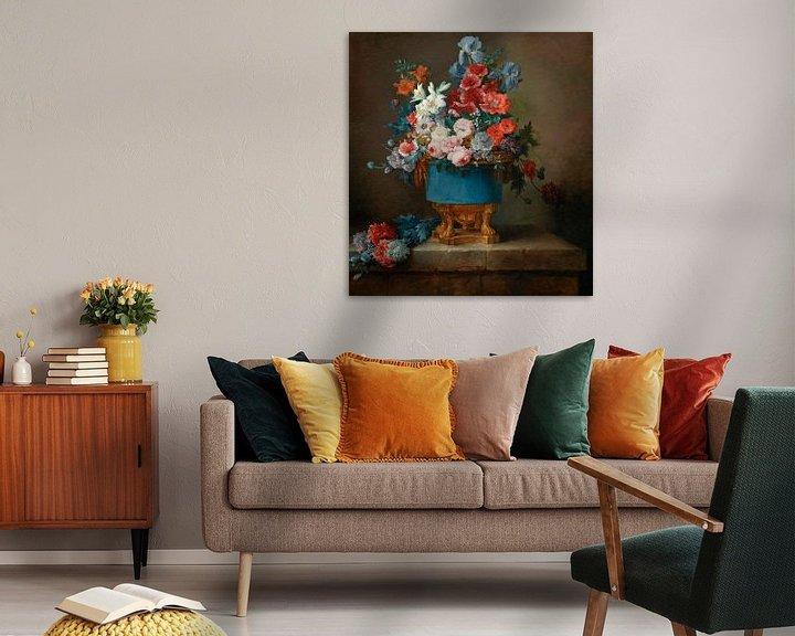 Beispiel: Blumenstrauß in einer blauen Porzellanvase, Anne Vallayer-Coster