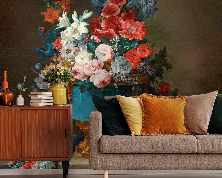 Beispiel fototapete: Blumenstrauß in einer blauen Porzellanvase, Anne Vallayer-Coster