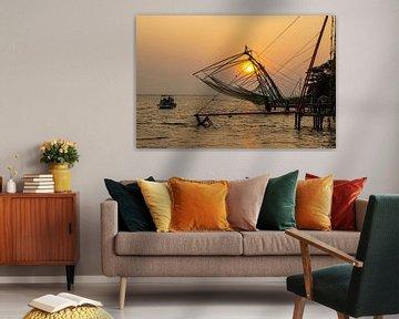 Chinese vissersnetten in Cochin, India van Martijn Mureau