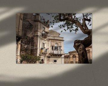 straatzicht in Ragusa van Eric van Nieuwland
