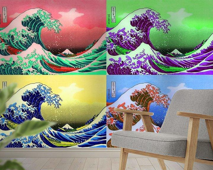 Sfeerimpressie behang: De grote golf van Warhol (Kanagawa) Pop Art, Fuji, Japan van Roger VDB