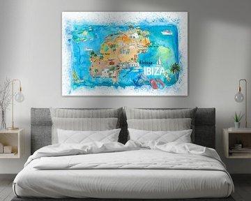 Ibiza Spanje geïllustreerde kaart met bezienswaardigheden en hoogtepunten van Markus Bleichner