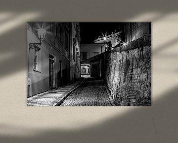 In de straten van de oude stad Praag