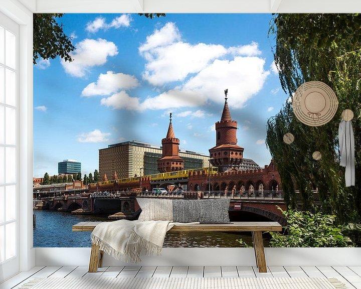 Sfeerimpressie behang: Oberbaumbrücke Berlijn van Frank Herrmann