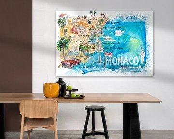 Monaco Monte Carlo Illustrated kaart met bezienswaardigheden en hoogtepunten van Markus Bleichner