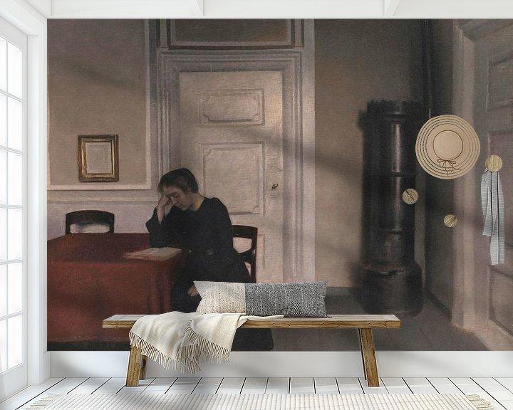 Impression: Salon à Strandgade avec la femme de l'artiste, Vilhelm Hammershøi