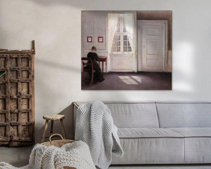 Beispiel: Ein Raum im Künstlerhaus in der Strandgade, Kopenhagen, mit der Ehefrau des Künstlers, Vilhelm Hamme