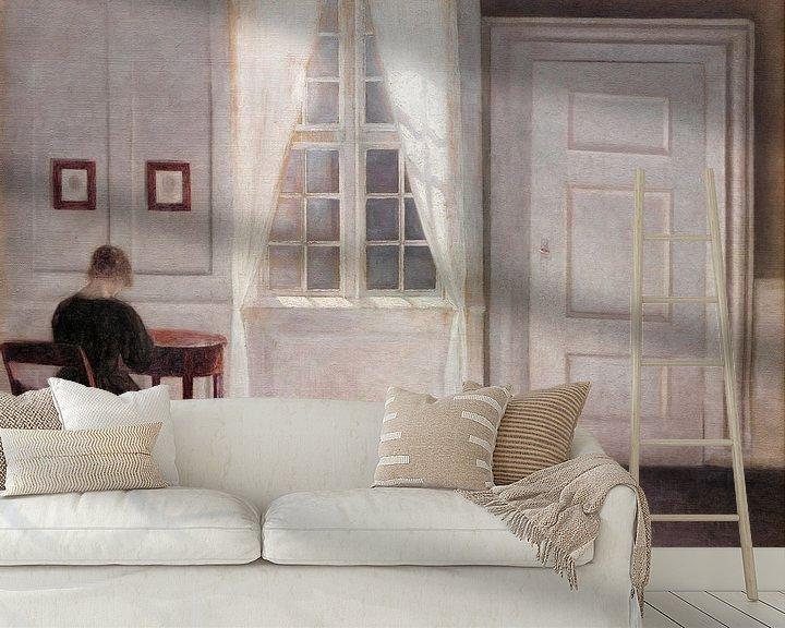 Beispiel fototapete: Ein Raum im Künstlerhaus in der Strandgade, Kopenhagen, mit der Ehefrau des Künstlers, Vilhelm Hamme