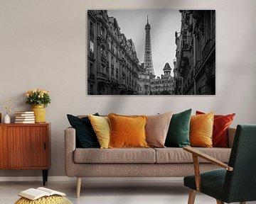 Eiffelturm schwarz-weiß von Claudia van Vulpen Lenssen
