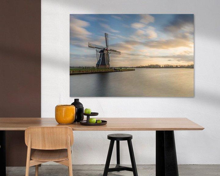 Impression: Poldermolen de Helper à Groningen au coucher du soleil sur Vincent Alkema