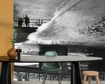 Amsterdam Prinsengracht winter reflectie van Marianna Pobedimova