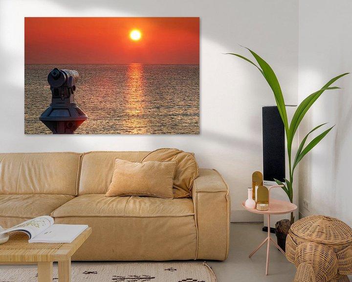 Beispiel: Fernrohr am Meer im Sonnenuntergang von Frank Herrmann