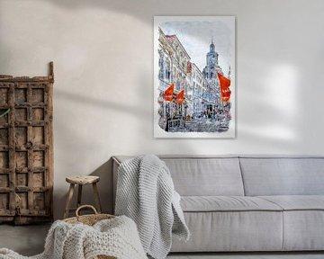 De Kremerstraat en de Peperbus in Bergen op Zoom (aquarel) van Art by Jeronimo