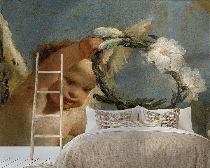 Beispiel fototapete: Engel mit Lilienkrone