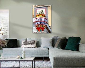 Kakteen, im bunten Blumenkasten , Altstadt, , Taormina, Provinz Messina, Sizilien, Italien, Europa,  von Torsten Krüger