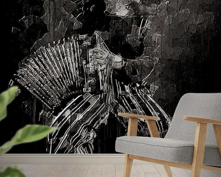 Sfeerimpressie behang: Meisje met accordeon van Luc V.be