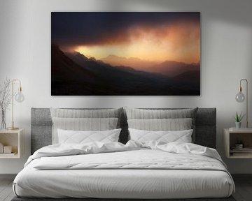 Panorama Dolomieten Zonsopgang van Frank Peters