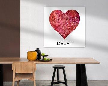 Die Liebe zu Delft | Stadtplan im Herzen von Wereldkaarten.Shop