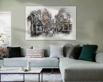De Kremerstraat en de Peperbus in Bergen op Zoom (kunst) van Art by Jeronimo