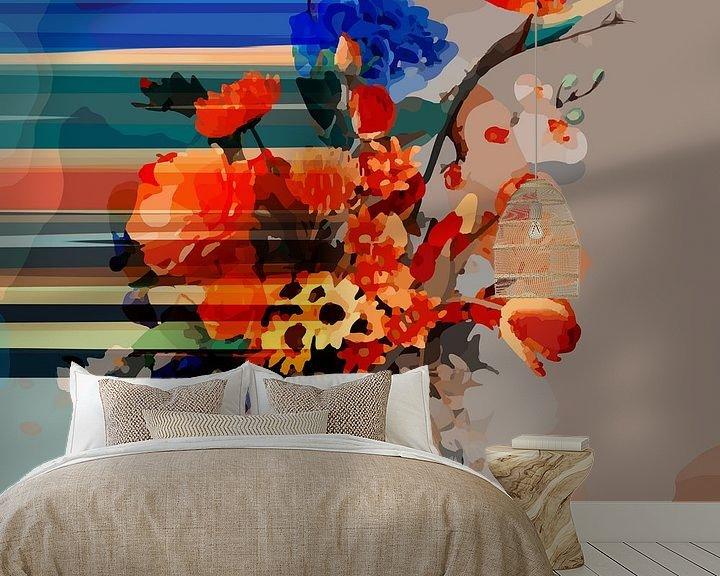 """Sfeerimpressie behang: Stilleven met een boeket van bloemen """"Faded by you II"""" van The Art Kroep"""