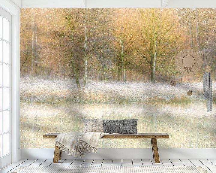 Sfeerimpressie behang: Winterse reflecties (olieverf) van Karla Leeftink