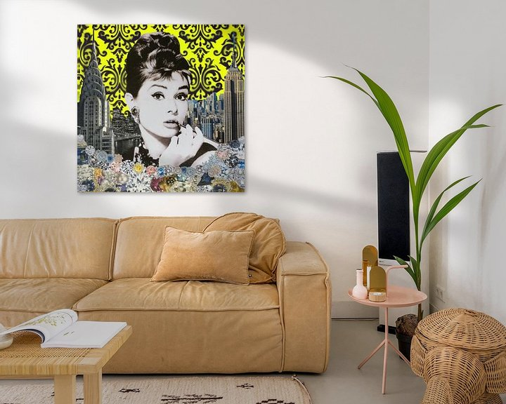 Impression: Audrey yellow, 2015, (mixed media) sur Anne Storno
