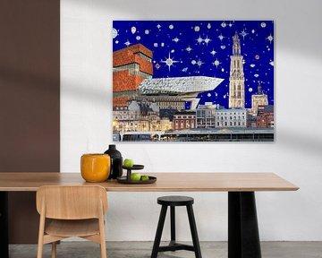 Antwerp by night, 2018, screenprint van Anne Storno