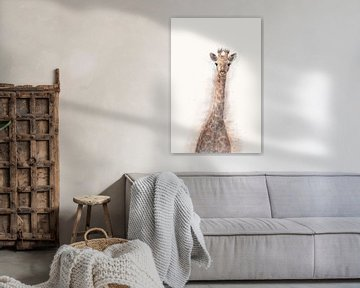 Oog in oog met giraffe in Zuid Afrika - digital art, fotografie, watercolor van Arlette Siebring