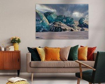 IJsbergen in Asgaardbukta van Kai Müller