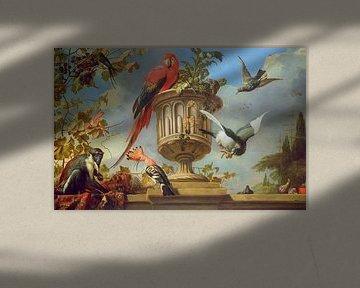 Scharlachara auf einer Urne, zusammen mit anderen Vögeln und einem Affen, der Trauben isst, Melchior