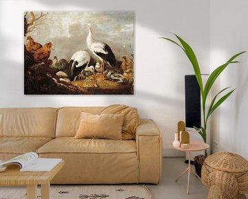 Ooievaars, wilde eenden, kippen, een reiger, een kikker en andere vogels in een rivierlandschap, Mel
