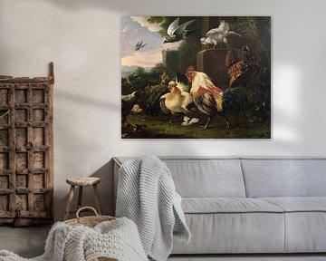 Ein Hahn und andere Hühner in einer Landschaft, Melchior d'Hondecoeter