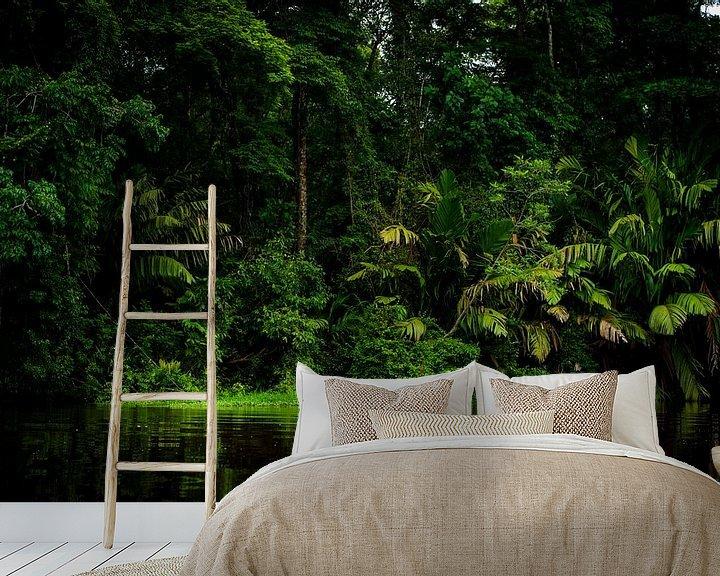 Sfeerimpressie behang: Tortuguero jungle van Costa Rica. van Corrine Ponsen