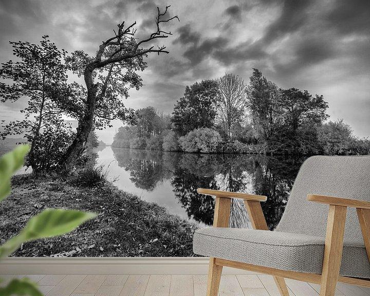 Sfeerimpressie behang: Bomen langs de waterkant met reflectie in zwart-wit van R Smallenbroek