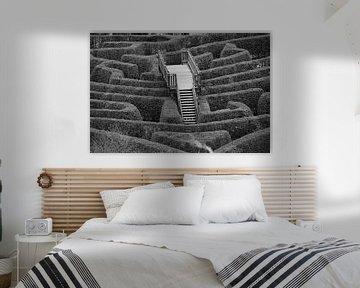 Bruggetje in ouderwets doolhof of labyrint, zwart wit foto