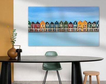 Kleurrijke Huisjes aan de Rietplas in Houten (Nederland)