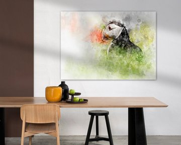 Papageientaucher-Aquarell-Portrait von Elles Rijsdijk