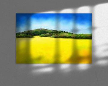 Schilderij van een landschap met blik op een kasteel ruïne